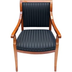 19th Century Biedermeier Armchair Solid Cherrywood, New Upholstered