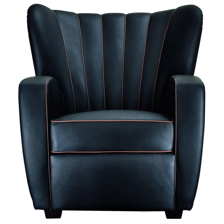 """Zarina"" Black Leather Armchair Designed by Cesare Cassina, Adele-C"