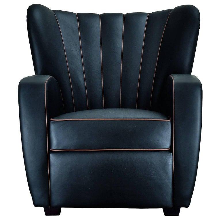 """Zarina"" Black Leather Armchair Designed by Cesare Cassina, Adele-C For Sale"