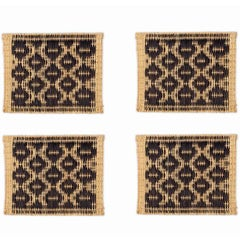 Moroccan Handwoven Black Wicker Placemats, Set of Four