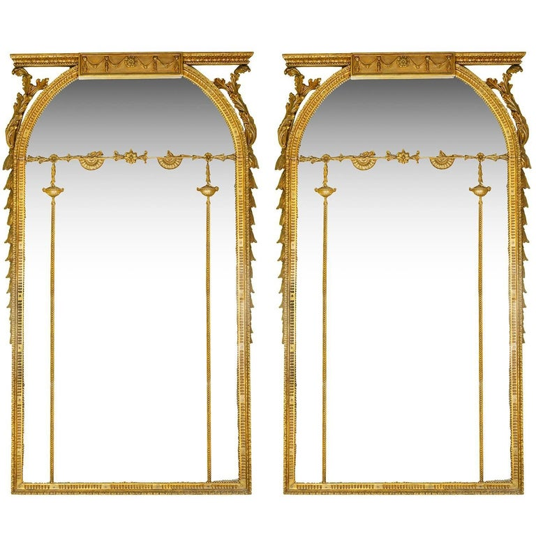 Large Pair of Georgian Style Gilded Wall Mirrors For Sale