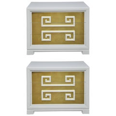 "Kittinger ""Greek Key Chests"" in White Lacquer with Brass-Clad Drawer Fronts"