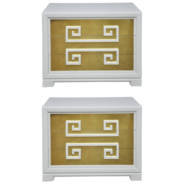 "Kittinger ""Greek Key Chests"" in White Lacquer with Brass-Clad Drawer Fronts For Sale"