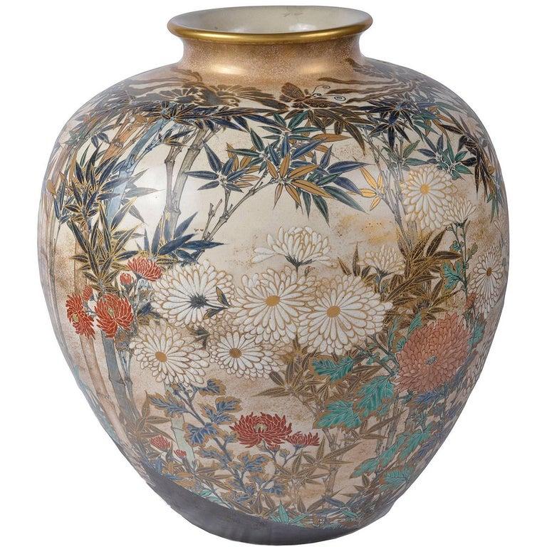 Large and Impressive Japanese Satsuma Vase For Sale