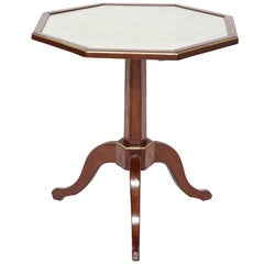 18th Century French Walnut Tripod Table With Octagonal Marble Top