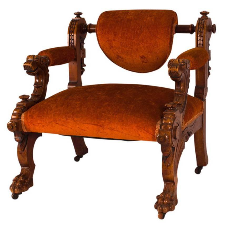 Victorian Walnut Low Chair With Swiveling Back, USA, 1880