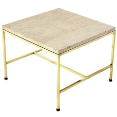 Brass and Travertine Side Table by Paul McCobb
