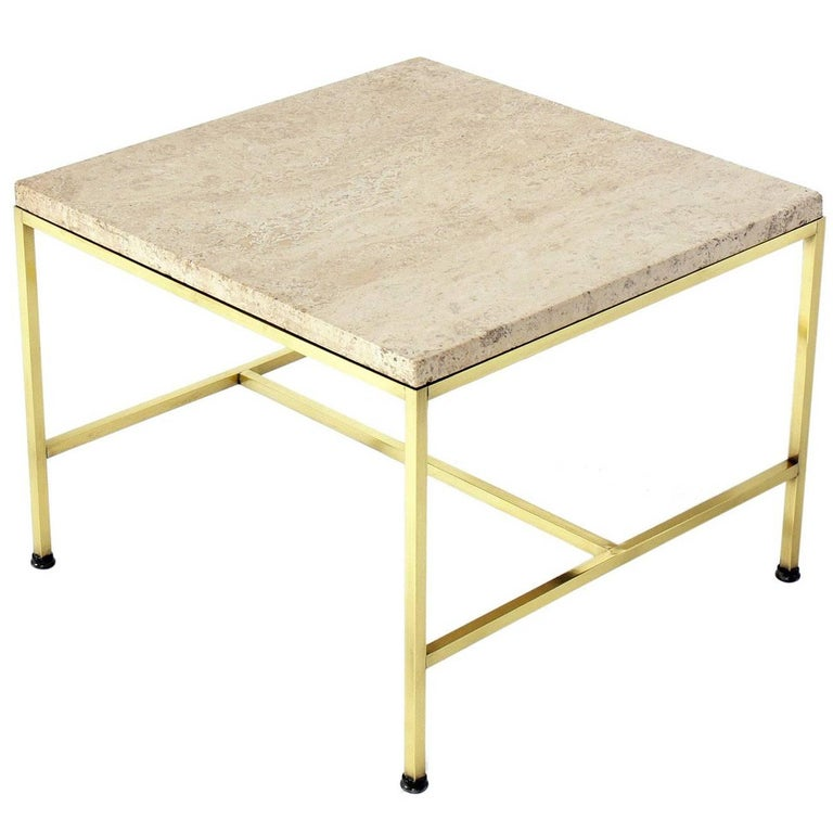 Brass and Travertine Side Table by Paul McCobb For Sale