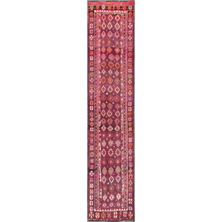 Plum Background Colorful Vintage Turkish Oushak Runner with Geometric Design
