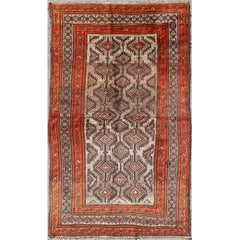 Vintage Persian Shiraz Rug in Burnt Orange and Brown with Tribal Medallions