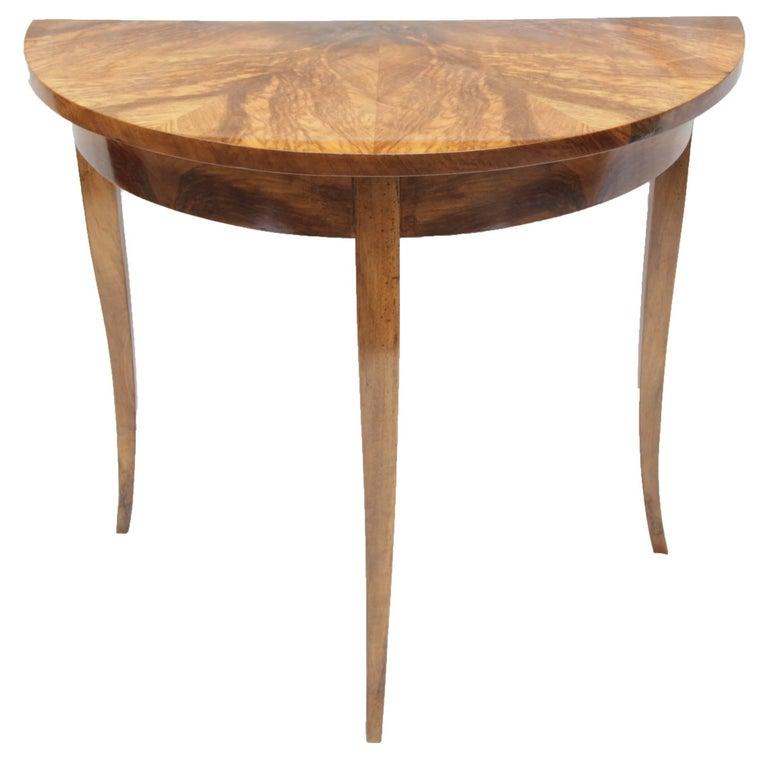 Early 19th Century Biedermeier Walnut Half Round Table from Germany