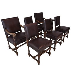 French Barley Twist Chairs with Leather, Set of Six, circa 1910, 'Reupholstered'