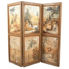 Antique French Painted Three-Panel Screen