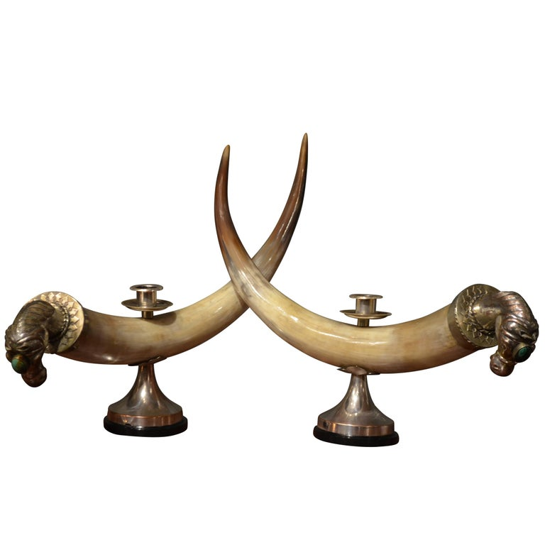 Anthony Redmile Cow Horn and Malachite Candelabra