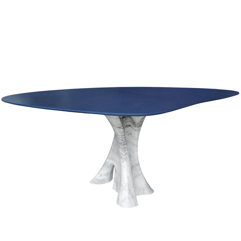 Interface Carved Marble Dining Table with Navy Leather Top