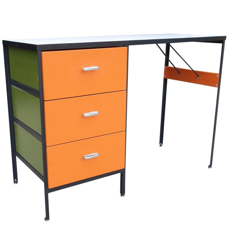 Midcentury Steel Frame Desk by George Nelson for Herman Miller