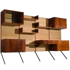 Fristho Rosewood and Seagrass Canvas Wall Unit