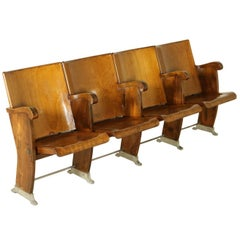 Line of Cinema Chairs with Folding Seat Beech and Poplar Vintage, Italy, 1960s