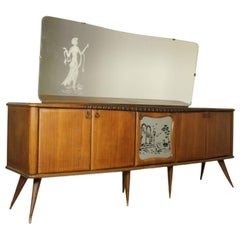 Sideboard with Mirror and Swing Doors Rosewood Veneer Vintage Italy 1950s