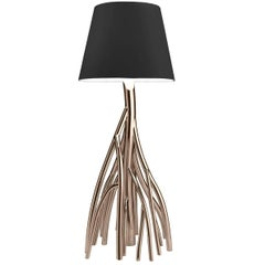 Contemporary Design Floor Lamp in Colored Stainless Steel and Linen