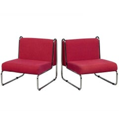 Pair of 1970s Chrome Tubular Bauhaus Style Lounge Chairs