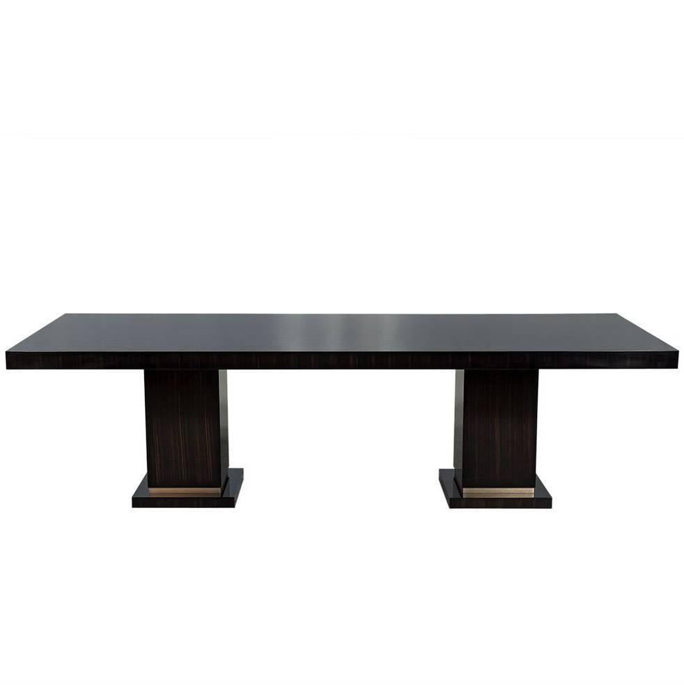 Carrocel Custom Macassar Slab Top Modern Dining Table