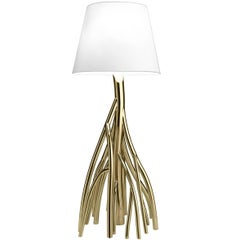 Contemporary Design Floor Lamp Made of Colored Stainless Steel and Linen