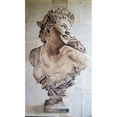 Original Oil on Wood Panel, 19th Century Sculpture over Antique French Document