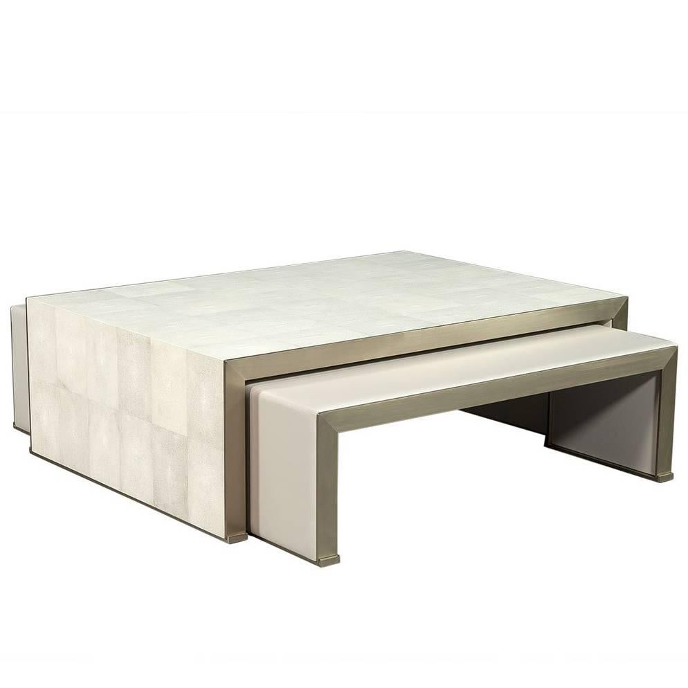 Carrocel Custom Shagreen and Stainless Steel Cocktail Nesting Tables