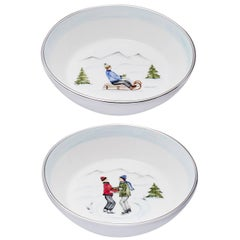 Set of Two Porcelain Dishes with Winter Decor Sofina Boutique Kitzbuehel