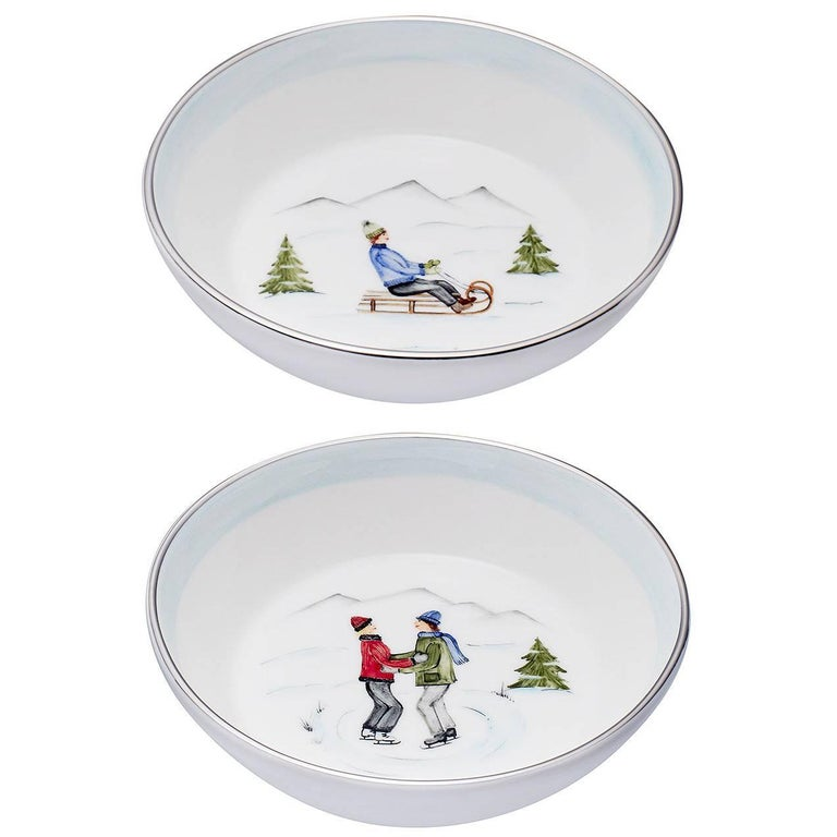 Country Style Set of Two Porcelain Dishes with Winter Decor