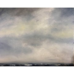 """Large Blue/Grey Abstract Ocean Landscape Painting, """"Cloud"""" by Rebecca Ruoff"""