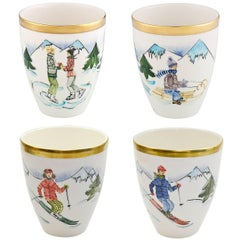 Country Style German Set of Four Hand-Painted Porcelain Vases with Skier Decor