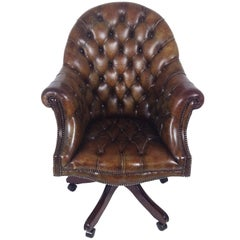 1970s Buttoned Leather Revolving Directors Chair