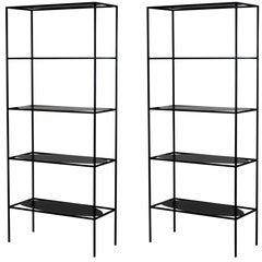 Two Modern Steel Ahn Etagere Bookcase Storage Shelves by Fferrone, Handmade Usa