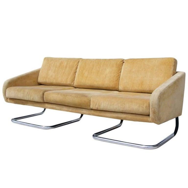 Vintage Midcentury Cantiliviar Thonet Chrome Sofa