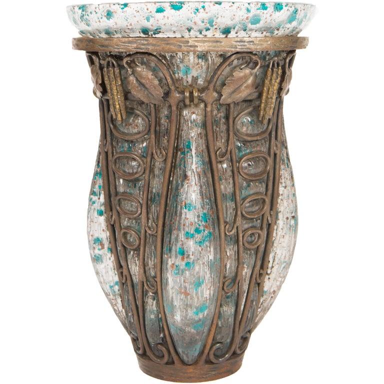 Art Deco Blown Art Glass & Wrought Iron Vase by, Daum Nancy and Louis Majorelle