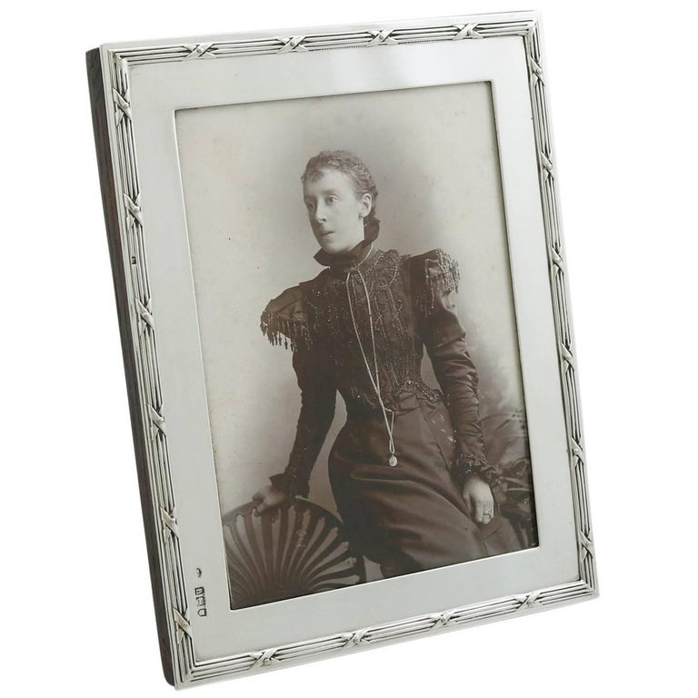 1903 Antique Edwardian Sterling Silver Photograph Frame For Sale