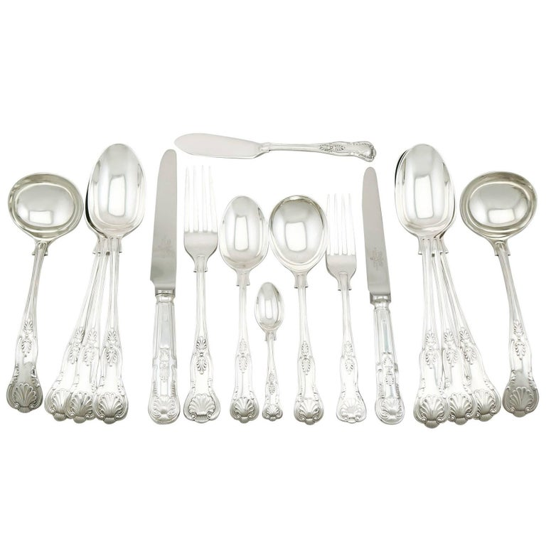 1920s Sterling Silver Canteen of Cutlery for 12 Persons For Sale