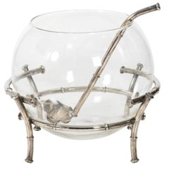 Silver Plate Bamboo and Glass Punchbowl
