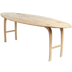 Oval Drop-Leaf Table in Solid Ash . Edition 1 of 5. Light ash