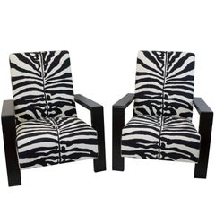 Large Modern Zebra Lounge Chair