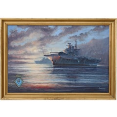 Quality Large Oil Painting M J Whitehand HMS Hermes Aircraft Carrier Naval
