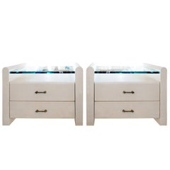 Pair of Custom Bedside Tables in Lacquered Linen, 1970s