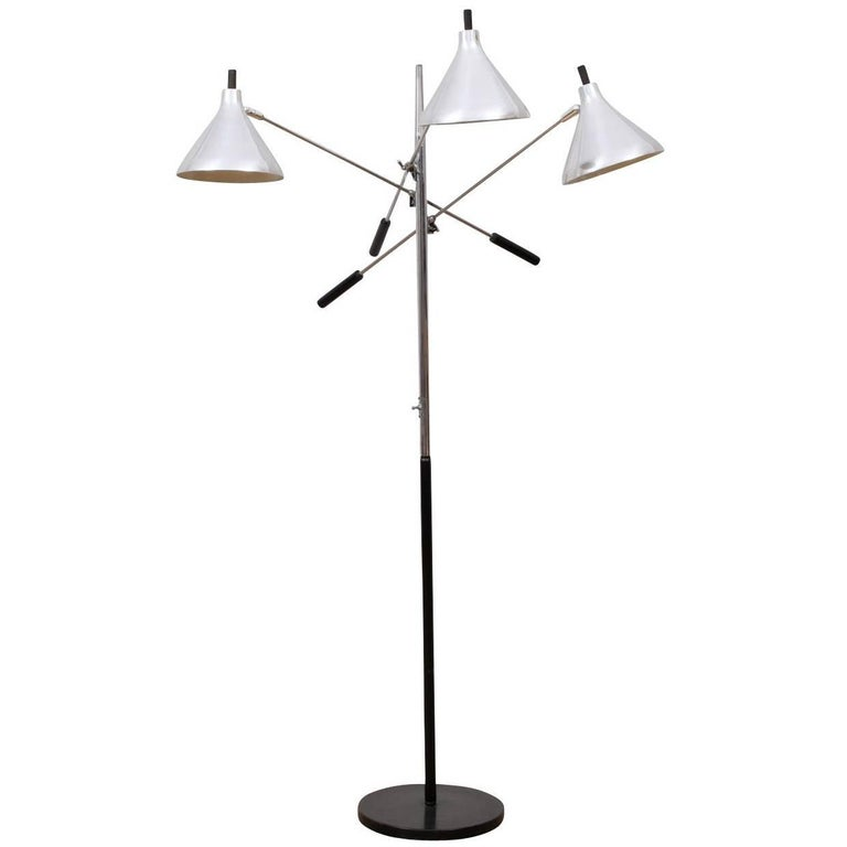 Mid-Century Modern Three-Light Adjustable Floor Lamp