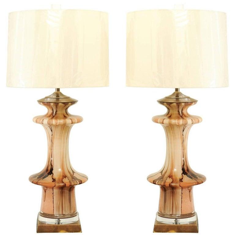 Stunning Pair of Blown Reverse Painted Murano Vases as Custom Lamps