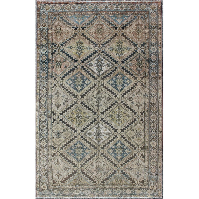 Diamond Basic Porcelain Blue Persian Style Wool Area Rug: Antique Blue And Cream Persian Runner Rug For Sale At 1stdibs