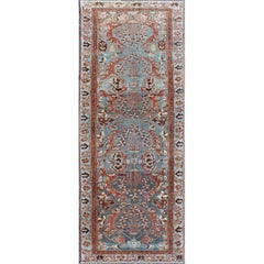 Antique Persian Hamadan Rug in Red and Sky Blue with Sub-Geometric Design