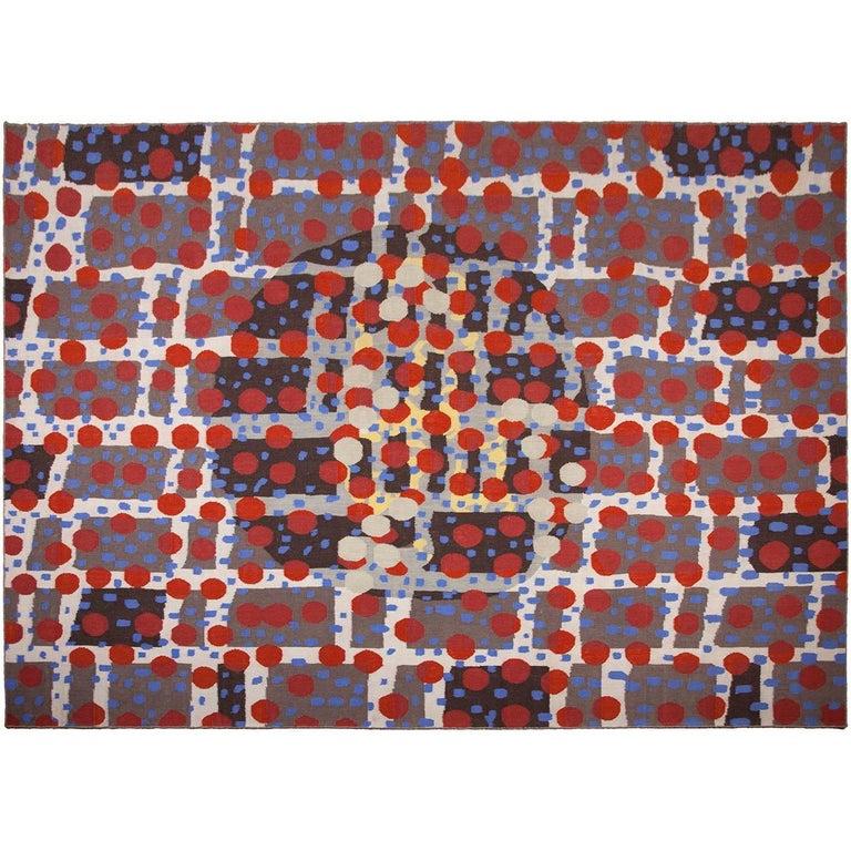 Rafa Forteza Rectangular Indian Wool Rug Grey, Black, Blue, and red ´Fluctus C´
