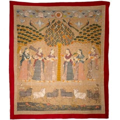 19th Century Indian Hand-Painted Wall Hanging